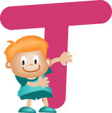 Alphabet letter T (boy) Royalty Free Stock Photos