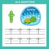 Alphabet Letter T-turtle exercise,paper cut concept. Vector illustration vector illustration
