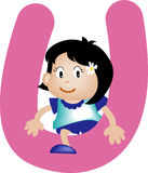 Alphabet letter U (girl). Alphabet letter (girl version), also checkout the boy version Stock Image