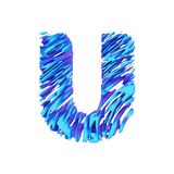 Alphabet letter U uppercase. Grungy font made of brushstrokes. 3D render isolated on white background. Typographic symbol from liquid vivid acrylic paint Stock Photography