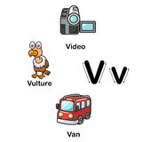 Alphabet Letter V-video,vulture,van vector illustration Stock Photography