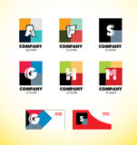 Alphabet letter vintage strong colors logo icon Stock Image