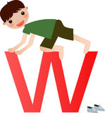 Alphabet letter W(boy) Royalty Free Stock Image