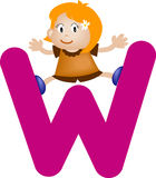 Alphabet letter W (girl) Royalty Free Stock Image