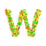 Alphabet letter W uppercase. Funny font made of orange, green and yellow shape cube. 3D render isolated on white background. Typographic symbol from geometric Stock Photography