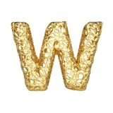 Alphabet letter W uppercase. Gold font made of yellow cellular framework. 3D render isolated on white background. Typographic symbol from metallic meshy Stock Photo