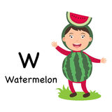 Alphabet Letter W-watermelon,vector Royalty Free Stock Photo