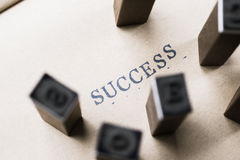 alphabet letter word success from stamp letters font on paper fo Stock Photo
