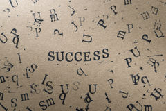 alphabet letter word success from stamp letters font on paper fo Stock Image