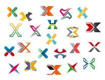 Alphabet letter X. Set of alphabet symbols and elements of letter X vector illustration