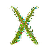 Alphabet letter X elegant flower blooming botanical sign Royalty Free Stock Photos