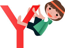 Alphabet letter Y(girl) Stock Image