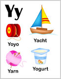 Alphabet letter Y pictures. Cute and colorful alphabet letter Y with set of illustrations and words printable sheet stock illustration