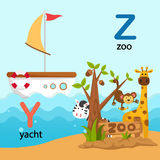 Alphabet Letter Y-yacht,Z-zoo Royalty Free Stock Image