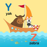 Alphabet Letter Y-yak,Z-zebra,illustration. Alphabet Letter Y-yak,Z-zebra,vector illustration Stock Images