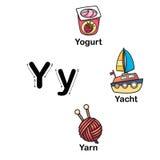 Alphabet Letter Y-yogurt,yacht,yarn illustration Stock Photography