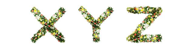 Alphabet letter X Y Z made from colorful flowers isolated on white background. stock images