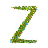 Alphabet letter Z elegant flower blooming botanical sign Royalty Free Stock Photos