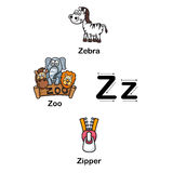 Alphabet Letter Z zebra,zoo,zipper vector illustration Royalty Free Stock Photography