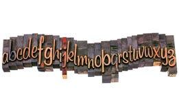 Alphabet in letterpress script wood type Stock Photo