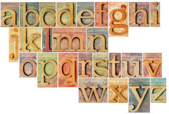 Alphabet in letterpress  wood type. Complete English lowercase alphabet - a collage of 26 isolated antique wood letterpress printing blocks, stained by color Stock Image