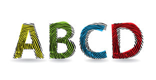 Alphabet letters. Color fingerprint alphabet letters - illustration Royalty Free Stock Images