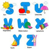 Alphabet letters. Illustration of alphabet letters with beautiful images of sun, tomatoes, umbrella, vegetables watermelon xylophone yacht and zipper Vector Illustration