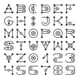 Alphabet Letters Based on Geometric Shape Elements. Latin ABC Letters and Numbers. Vector stock illustration