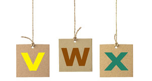Alphabet letters on cardboard label isolated. Set 8 Stock Photography