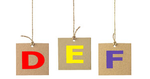 Alphabet letters on cardboard label isolated. Set 2 Stock Photography