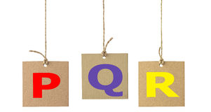 Alphabet letters on cardboard label isolated. Set 5 Royalty Free Stock Image