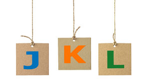 Alphabet letters on cardboard label isolated. Set 3 Stock Photo