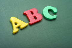 Alphabet letters on a Chalkboard royalty free stock photos