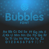 Alphabet letters consisting of blue bubbles Stock Images