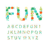 Alphabet letters  consisting of colorful circles. Vector Royalty Free Stock Photography
