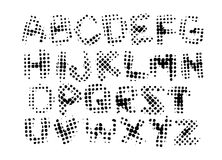Alphabet, letters in grunge style, halftone ink prints on white background.  Royalty Free Stock Image