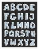 Alphabet letters hand drawn vector set isolated on. Dark black background. Kids doodle abc white and blue cartoon sign collection Royalty Free Stock Images