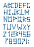 Alphabet - letters from a jeans fabric Royalty Free Stock Photos