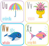 Alphabet Letters. For kids with cute cartoon Royalty Free Stock Photography