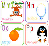 Alphabet Letters. For kids with cute drawings royalty free illustration