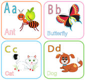 Alphabet Letters. For kids with cute drawings stock illustration