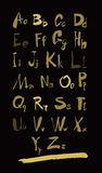 Alphabet letters lowercase, uppercase and numbers gold on black. Alphabet letters lowercase, uppercase and numbers. Vector alphabet. Hand drawn letters. Letters Royalty Free Stock Image