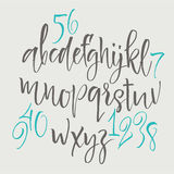 Alphabet letters: lowercase, uppercase, numbers. Vector alphabet. Hand drawn letters. Letters of the alphabet written with a soft Royalty Free Stock Photo