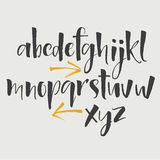 Alphabet letters: lowercase, uppercase, numbers. Vector alphabet. Hand drawn letters. Letters of the alphabet written with a soft. Watercolor paint brush Royalty Free Stock Photos