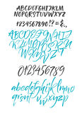 Alphabet letters: lowercase, uppercase, numbers. Vector alphabet. Hand drawn letters. Letters of the alphabet written with a soft watercolor paint brush Stock Photography