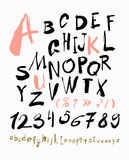 Alphabet letters lowercase, uppercase and numbers. Stock Photos