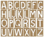 Alphabet letters made from cardboard paper. School background Stock Images