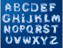 Alphabet - letters are made by hoarfrost Stock Images