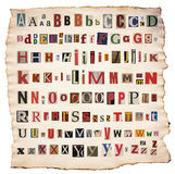 Alphabet letters made of newspaper, magazine Royalty Free Stock Photography
