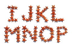 Alphabet letters made of real starfish I to P Stock Photo
